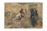 Illustration of Howard Carter and Lord Carnarvon in the Tomb of Tutankhamun Reproduction procédé giclée par Stefano Bianchetti
