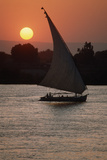 Sunset on the Nile with Boat Photographic Print