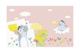 Zebras in Backdrop Giclee Print by  TongRo