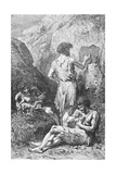 Prehistoric Men Depicting Deer Giclée-vedos tekijänä Emile Antoine Bayard