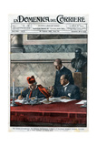 Illustration of Benito Mussolini and Cardinal Pietro Gasparri Signing the Lateran Treaty of 1929 Reproduction procédé giclée par Stefano Bianchetti