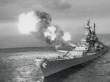 United States Battleship in the Ocean Fotoprint