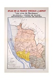 Map of the Bordeaux Region Just East of the Girond Reproduction procédé giclée