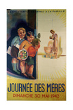 Mother's Day, 30th May 1943, Propaganda Poster of the Vichy Government, 1943 Lámina giclée