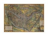 Map of Lyon, France, from Civitates Orbis Terrarum Reproduction procédé giclée
