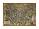 Map of Lyon, France, from Civitates Orbis Terrarum Gicléetryck