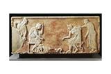 Greek Civilization, Stele Depicting Fight Between Dog and Cat Stampa giclée