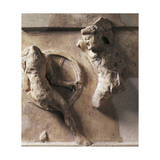 Greek Civilization, Metope of Athenian Treasury at Delphi Relief Depicting Heracles and Cycnus Stampa giclée