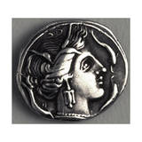 Greek Drachma Depicting Female Portrait Uncovered in Emporium, River Port of Rome Stampa giclée