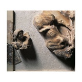 Greek Civilization, Metope of Athenian Treasury at Delphi Relief Depicting Theseus and Bull Stampa giclée