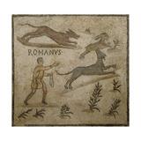 Roman Civilization, Mosaic Depicting Hunting Scene Stampa giclée
