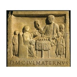 Roman Civilization, Relief Portraying Feast, from Cologne, Germany Stampa giclée