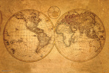 Oude wereldkaart Poster
