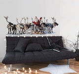 Santa And His Reindeer Adesivo de parede