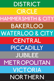 London Underground Tube Lines Travel Poster Affiches