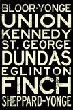 Toronto Metro Stations Vintage Travel Poster Affiche