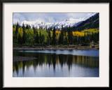 Autumn Trees on Mountain Lake Framed Photographic Print