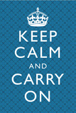 Keep Calm and Carry On Motivational Blue Pattern Art Print Poster ポスター
