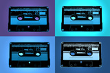 Audio Cassette Tapes Blue Pop Art Print Poster Posters