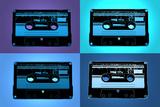 Audio Cassette Tapes Blue Pop Art Print Poster Julisteet
