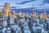 Japan, Tokyo, Roppongi, Sunset Skyline Photographic Print by Rob Tilley