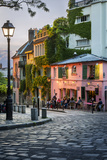 Evening Sunlight on La Maison Rose in Montmartre, Paris, France Stretched Canvas Print by Brian Jannsen