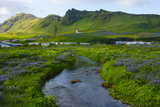 Iceland. South. Vik I Myrdal. Stream Running Down to the Beach Photographic Print by Inger Hogstrom