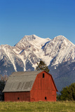 Red Barn Sits Below Mcdonald Peak in the Mission Valley, Montana, Usa Stampa fotografica di Chuck Haney