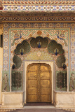 India, Rajasthan, Jaipur, Peacock Door at City Palace Photographic Print by Alida Latham
