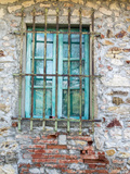 Europe, Italy, Tuscany. Turquoise Window on Brick Building Fotografisk tryk af Julie Eggers