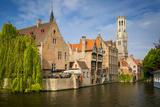 Belfry of Bruges Towers over the Buildings, Bruges, Belgium Fotografisk trykk av Brian Jannsen