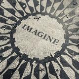 USA, New York, City, Central Park, John Lennon Memorial, Imagine Fotografisk trykk av Walter Bibikow