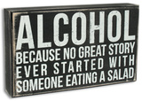 Alcohol Box Sign Cartel de madera