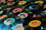 Collection of Vinyl Records, Wildwood, New Jersey, Usa Stretched Canvas Print by Julien McRoberts