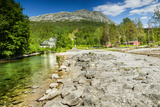 Long Exposure Shot of A Stream and A Mountain Peak in Northern Norway Fotografisk trykk av  Lamarinx
