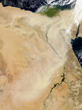 Satellite View of a Dust Storm Stretching from Sudan Toward Egypt Fotografisk tryk