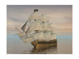 Pirate Ship with Black Jolly Roger Flag Sailing the Ocean Prints