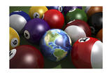 Pool Table with Balls and One of Them as Planet Earth Prints