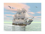 Old Merchant Ship Sailing in the Ocean with Seagulls Above Art