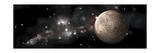 A Heavily Cratered Moon Alone in Deep Space Posters