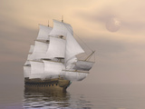 Beautiful Old Merchant Ship Sailing on Quiet Waters Prints