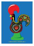 Portuguese Rooster Blue Poster di Patricia Pino
