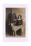 Studio Portrait, Father and Daughter with Greyhound Reproduction photographique