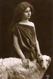 Studio Portrait, Woman with Borzoi Dog Reproduction photographique