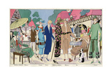 Fashionable Ladies in Designer Outfits Giclée-tryk
