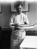 Chef with a Lobster Lámina fotográfica