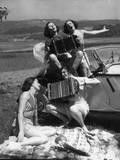 Accordion Picnic Girls Photographic Print