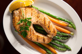 Grilled Salmon Steak and Vegetables Photographic Print by  evgenyb