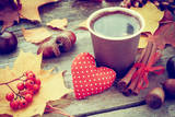 Warming Coffee Cup, Red Heart and Autumn Still Life Fotografisk trykk av  ChamilleWhite