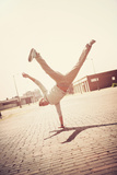 Boy Doing a Handstand Photographic Print by  soupstock